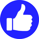 White Thumbs Up with Blue Background