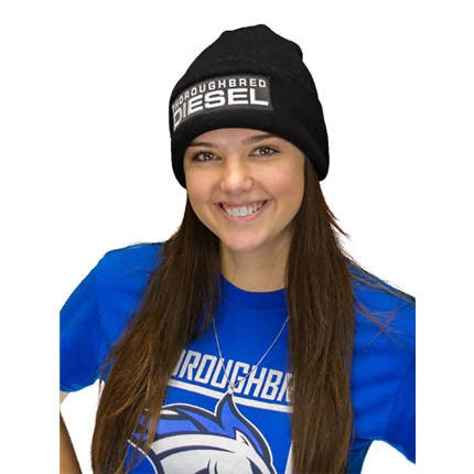 0bbbb482ced ... Cuffed Beanie Black Patch White Thoroughbred Diesel Text FlexFit.  thoroughbred diesel. tdp500008-head. black-beanie-female-front