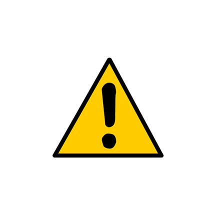 Warning Icon with Black Exclamation Point and Yellow Background