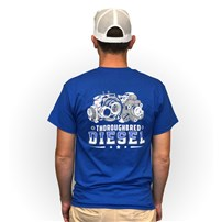 Thoroughbred Diesel Short Sleeve Royal Blue Left Chest Shield, Thoroughbred CP3 & Turbo