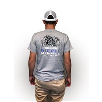 Thoroughbred Diesel Short Sleeve Sport Gray Tee Left Chest Shield, Thoroughbred CP3 & Turbo