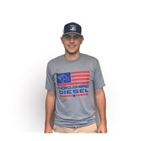 Thoroughbred Diesel Soft Style Short Sleeve Heather Gray Full Flag Red & Blue