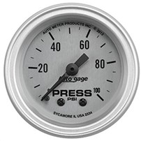 Autometer Auto Gage Series - Silver - Oil Pressure Gauge (2-1/16 Mechanical 0-100 PSI) - 2334