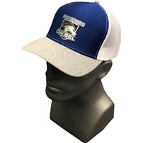 Thoroughbred Light Gray Bill, Blue Front, White Mesh, Blue and Silver Leather patch
