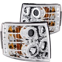 Anzo Chrome Projector Headlights w/ CCFL Halo - 07.5-14 Chevy Silverado - 111086