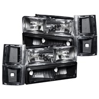 Anzo Crystal Black Headlight Assembly - 94-98 GM Fullsize - 111100