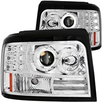 Anzo Chrome Projector Halo Headlights w/Side & Parking Lights - 94-97 Ford F250/350 - 111183