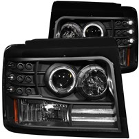 Anzo Black Projector Halo Headlights w/Side & Parking Lights - 94-97 Ford F250/350 - 111184