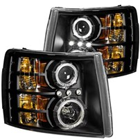 Anzo Black Projector Headlights w/Halo - 07.5-14 Chevy Silverado - 111200