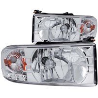 Anzo Crystal Chrome Headlight Assembly - 94-02 Dodge Ram (For Trucks w/o Sport Package) - 111206