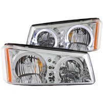 Anzo Chrome Halo Headlight w/LED Amber - 03-07 Chevy Silverado - 111211