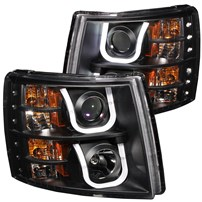 Anzo Projector Headlights w/U-Bar (Black) - 07.5-14 Chevy Silverado - 111281