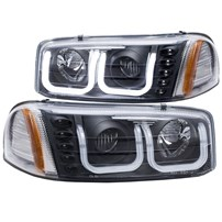 Anzo Projector Headlights w/U-Bar (Black) - 00-07 GMC Sierra - 111303