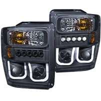Anzo Projector Headlight w/U-Bar (Black) - 08-10 Ford Super Duty - 111305