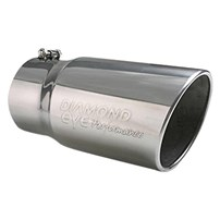 Diamond Eye Exhaust Tip - 409 SS Round Non-Rolled Edge Angle Cut Bolt-On Polished Exhaust Tip (5