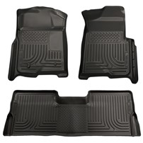 Husky Liner WeatherBeater Complete Set - Front & 2nd Seat Floor Liners - BLACK - 08-10 Ford Powerstroke, Crew Cab