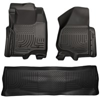 Husky Liner WeatherBeater Complete Set - Front & 2nd Seat Floor Liners - BLACK - 11-12 Ford Powerstroke, Crew Cab