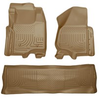Husky Liner WeatherBeater Complete Set - Front & 2nd Seat Floor Liners - TAN - 11-12 Ford Powerstroke, Crew Cab