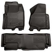 Husky Liner WeatherBeater Complete Set - Front & 2nd Seat Floor Liners - BLACK - 11-12 Ford Powerstroke, Extended Cab