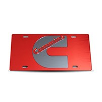 Thoroughbred Diesel Custom License Plate - CUMMINS Red w/ Smoke Lettering