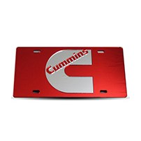 Thoroughbred Diesel Custom License Plate - CUMMINS Red w/ Chrome Lettering