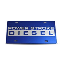 Thoroughbred Diesel Custom License Plate - POWERSTROKE Royal Blue w/ Chrome Lettering