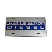 Thoroughbred Diesel Custom License Plate - POWERSTROKE Chrome w/ Royal Blue Lettering