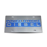 Thoroughbred Diesel Custom License Plate - POWERSTROKE Smoke w/ Royal Blue Lettering