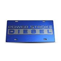 Thoroughbred Diesel Custom License Plate - POWERSTROKE Royal Blue w/ Smoke Lettering