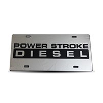 Thoroughbred Diesel Custom License Plate - POWERSTROKE Chrome w/ Smoke Lettering