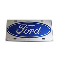 Thoroughbred Diesel Custom License Plate - FORD Royal Blue w/ Chrome Lettering