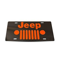 Thoroughbred Diesel Custom License Plate - JEEP GRILLE Black w/ Orange Lettering