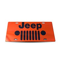 Thoroughbred Diesel Custom License Plate - JEEP GRILLE Orange w/ Black Lettering