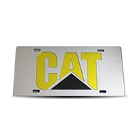 Thoroughbred Diesel Custom License Plate - CAT Chrome w/ Yellow Lettering