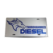 Thoroughbred Diesel Custom License Plate - TBRED DIESEL Chrome Plate w/ Royal Blue Lettering
