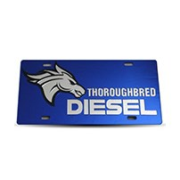 Thoroughbred Diesel Custom License Plate - TBRED DIESEL Royal Blue w/ Chrome Lettering
