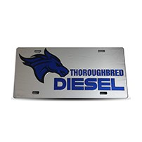 Thoroughbred Diesel Custom License Plate - TBRED DIESEL Chrome w/ Royal Blue Lettering