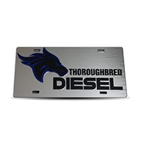 Thoroughbred Diesel Custom License Plate - TBRED DIESEL Chrome w/ Black Lettering