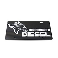 Thoroughbred Diesel Custom License Plate - TBRED DIESEL Black w/ Chrome Lettering