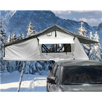 OVS Nomadic 3 Arctic Extended Roof Top Tent - White Base With Dark Gray Rain Fly & Black Cover Universal