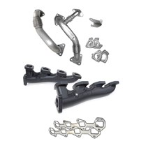 PPE High Flow Exhaust Manifold (Black Ceramic Coating) with Up-pipes - 04.5-05 GM 6.6L Duramax LLY
