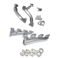 PPE High Flow Exhaust Manifold (Silver Ceramic Coating) with Up-pipes - 04.5-05 GM 6.6L Duramax LLY