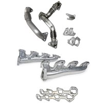 PPE High Flow Exhaust Manifold (Silver Ceramic Coating) with Up-pipes - 11-16 GM 6.6L Duramax LML