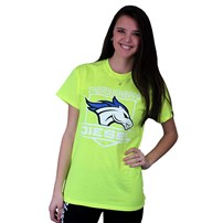 Thoroughbred Diesel Short Sleeve Safety Yellow Tee Horse and Shield on Front, Saving Diesel Live w/ Watermark on Back
