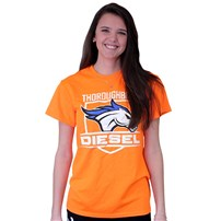 Thoroughbred Diesel Short Sleeve Safety Orange Tee Horse and Shield on Front, Saving Diesel Live w/ Watermark on Back