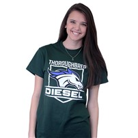 Thoroughbred Diesel Short Sleeve Forest Tee Horse and Shield on Front, Saving Diesel Live w/ Watermark on Back