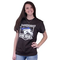 Thoroughbred Diesel Short Sleeve Dark Chocolate Tee Horse and Shield on Front, Saving Diesel Live w/ Watermark on Back
