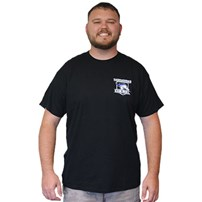 Thoroughbred Diesel Short Sleeve Black Tee Left Chest Shield, Thoroughbred Piston on Back