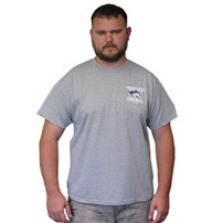 Thoroughbred Diesel Short Sleeve Sport Gray Tee Left Chest Shield, Thoroughbred Piston on Back