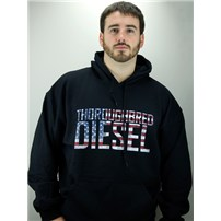 Thoroughbred Diesel Black Hoodie with American Flag Design